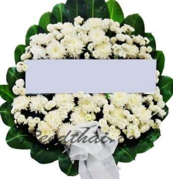 พวงหรีดดอกไม้สด-A01-พวงหรีดสวย