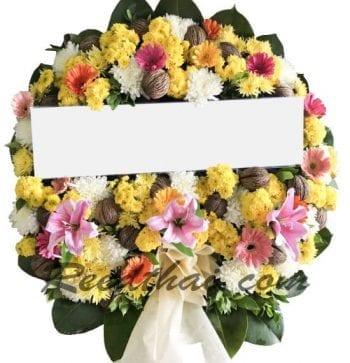 พวงหรีดดอกไม้สด-C01-พวงหรีด