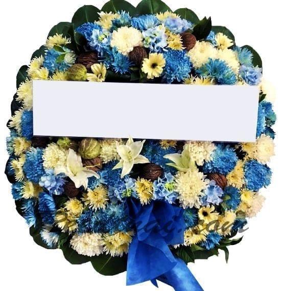พวงหรีดดอกไม้สด-C05-พวงหรีดสีขาว-ฟ้า