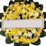 พวงหรีดดอกไม้สด-C08-พวงหรีดสีเหลืองขาว