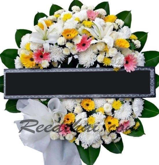 พวงหรีดดอกไม้สด-D01-พวงหรีด