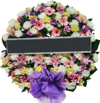 พวงหรีดดอกไม้สด-D03-พวงหรีด