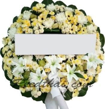 พวงหรีดดอกไม้สด-D06-พวงหรีด