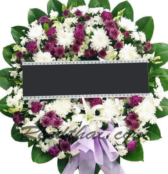 พวงหรีดดอกไม้สด-D08-พวงหรีด
