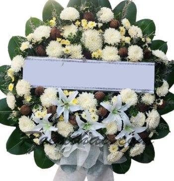 พวงหรีดดอกไม้สด-D09-พวงหรีด