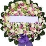พวงหรีดดอกไม้สด-E01-พวงหรีด