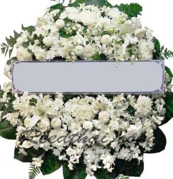 พวงหรีดดอกไม้สด-E02-พวงหรีดโทนสีขาว