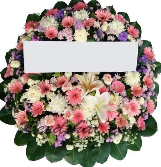 พวงหรีดดอกไม้สด-E03-พวงหรีดโทนสีชมพู