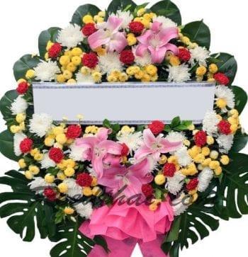 พวงหรีดดอกไม้สด-E04-พวงหรีด