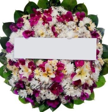 พวงหรีดดอกไม้สด-E06-พวงหรีด