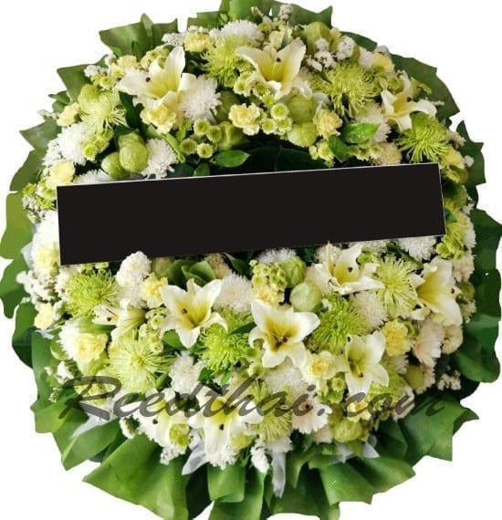 พวงหรีดดอกไม้สด-F01-พวงหรีด