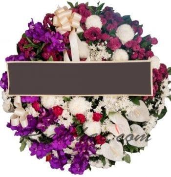 พวงหรีดดอกไม้สด-F02-พวงหรีด