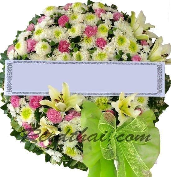 พวงหรีดดอกไม้สด-F03-พวงหรีด