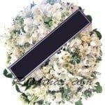 พวงหรีดดอกไม้สด-F05-พวงหรีดสีขาว