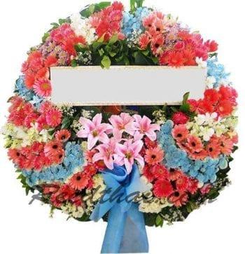 พวงหรีดดอกไม้สด-F06-พวงหรีดโทนสีผสม