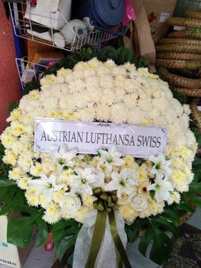 ร้านพวงหรีดวัดเทพศิรินทราวาส จากAUSTRIAN LUFTHANSA SWISS