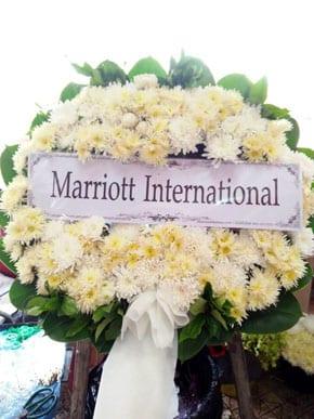 ร้านพวงหรีดวัดกระจับพินิจ พวงหรีดจาก Marriott International